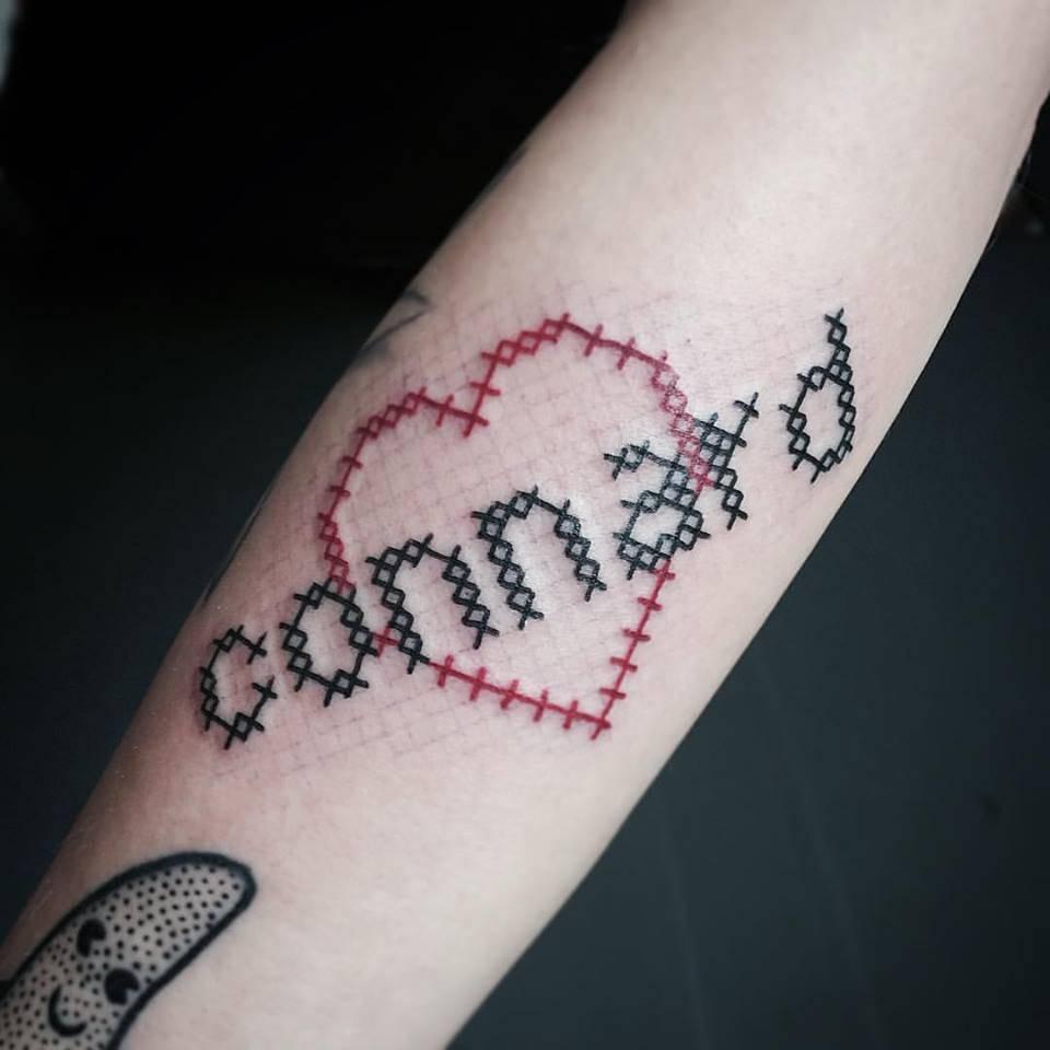 Cross Stitch Tattoo: Cross Stitch Tattoo For A Lover
