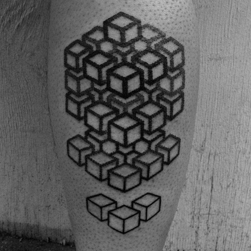 Cubes tattoo by corey divine