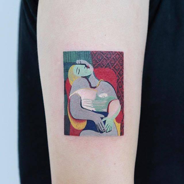 Cubist portrait tattoo by zihee