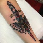 Dagger and butterfly tattoo by jeroen van dijk