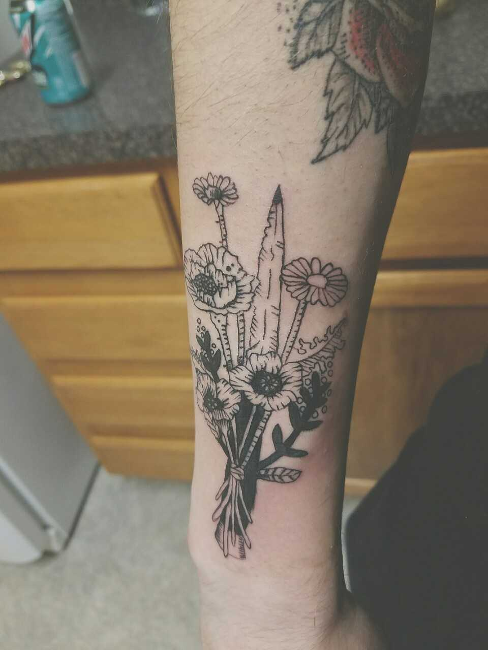 Dagger and flowers by dave bauer