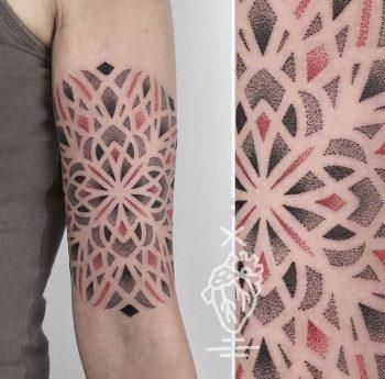 Dot work mandala tattoo by sarah herzdame