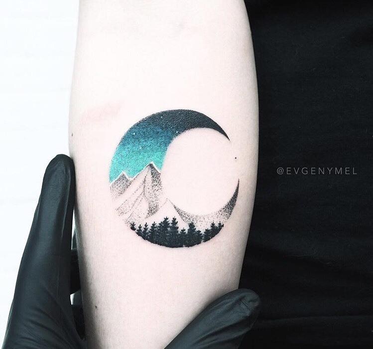 Double exposure moon tattoo by evgeny mel