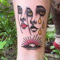Faces and sunset tattoo by patryk hilton