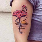 Flamingo and sunset tattoo