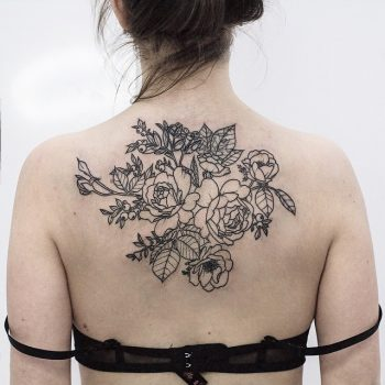 Garden roses and anemones tattoo