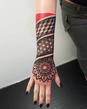 Geometric mash up style tattoo