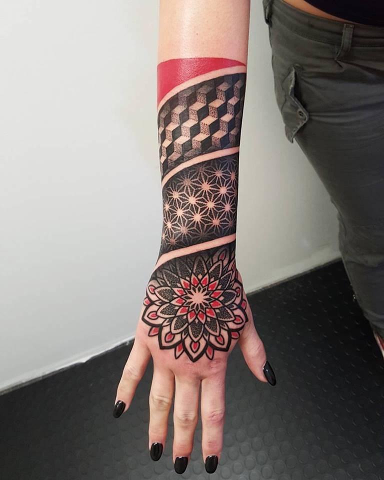 Geometric mash up style tattoo
