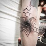 Geometric tattoo on the elbow by unkle gregory