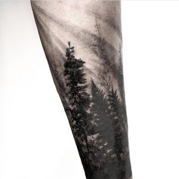 Half sleeve forest tattoo by calvin