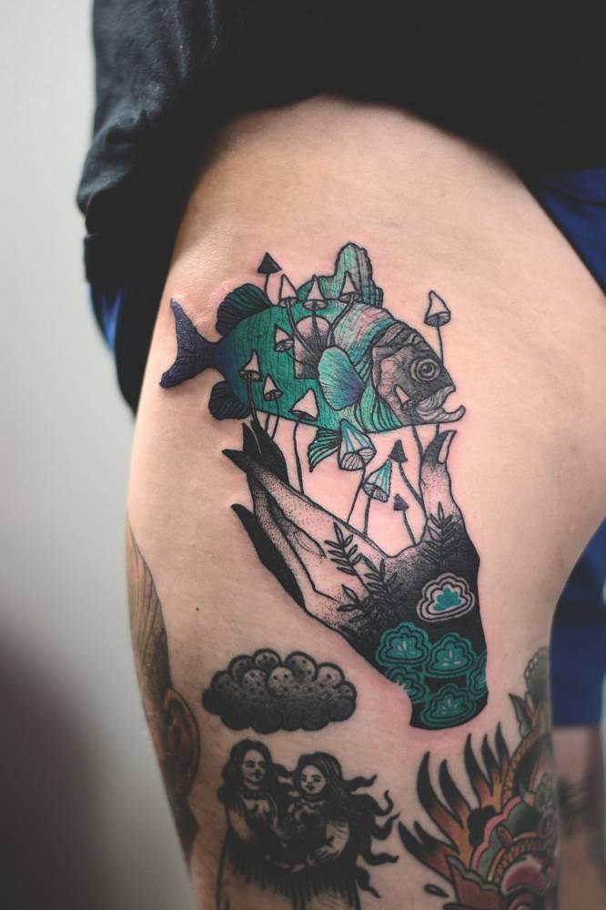 Hand and fish tattoo by joanna Świrska