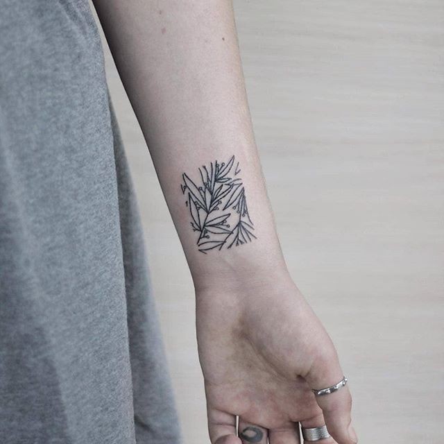 Hand poked plants rectangle tattoo