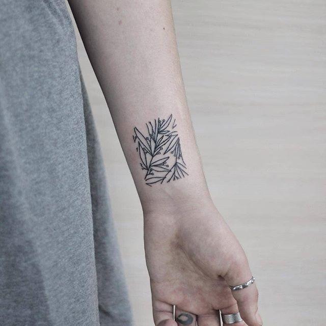 Hand poked plants rectangle tattoo