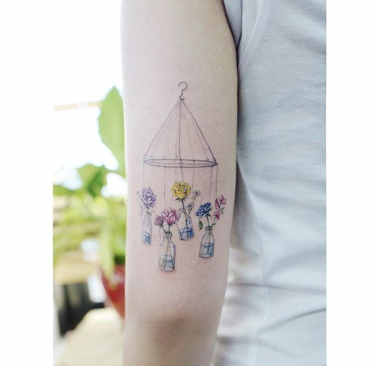 Hanging bottle garden tattoo