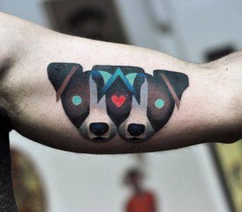 Jack russel heads tattoo