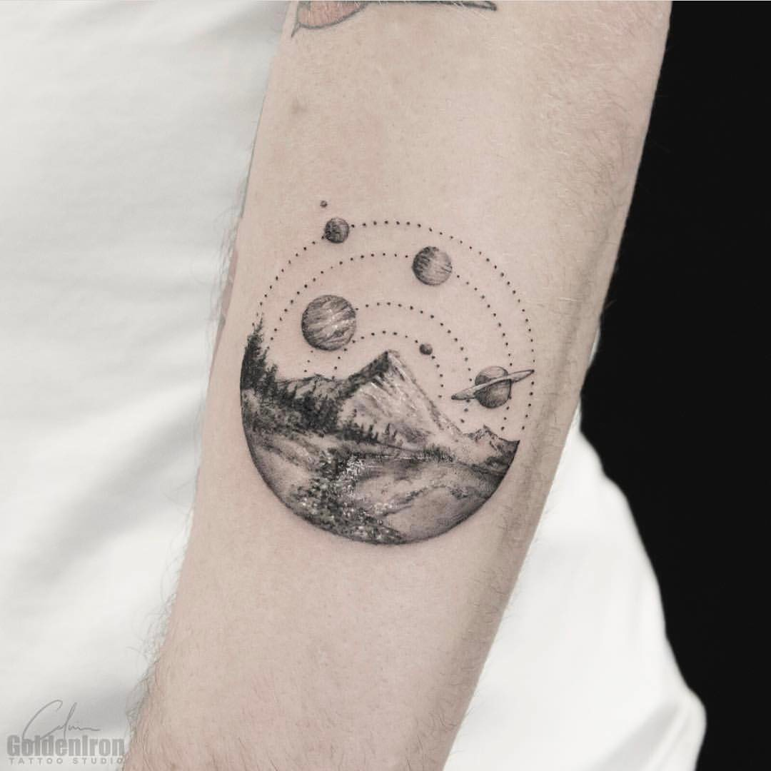 Landscape and planets tattoo by calvin grxsy