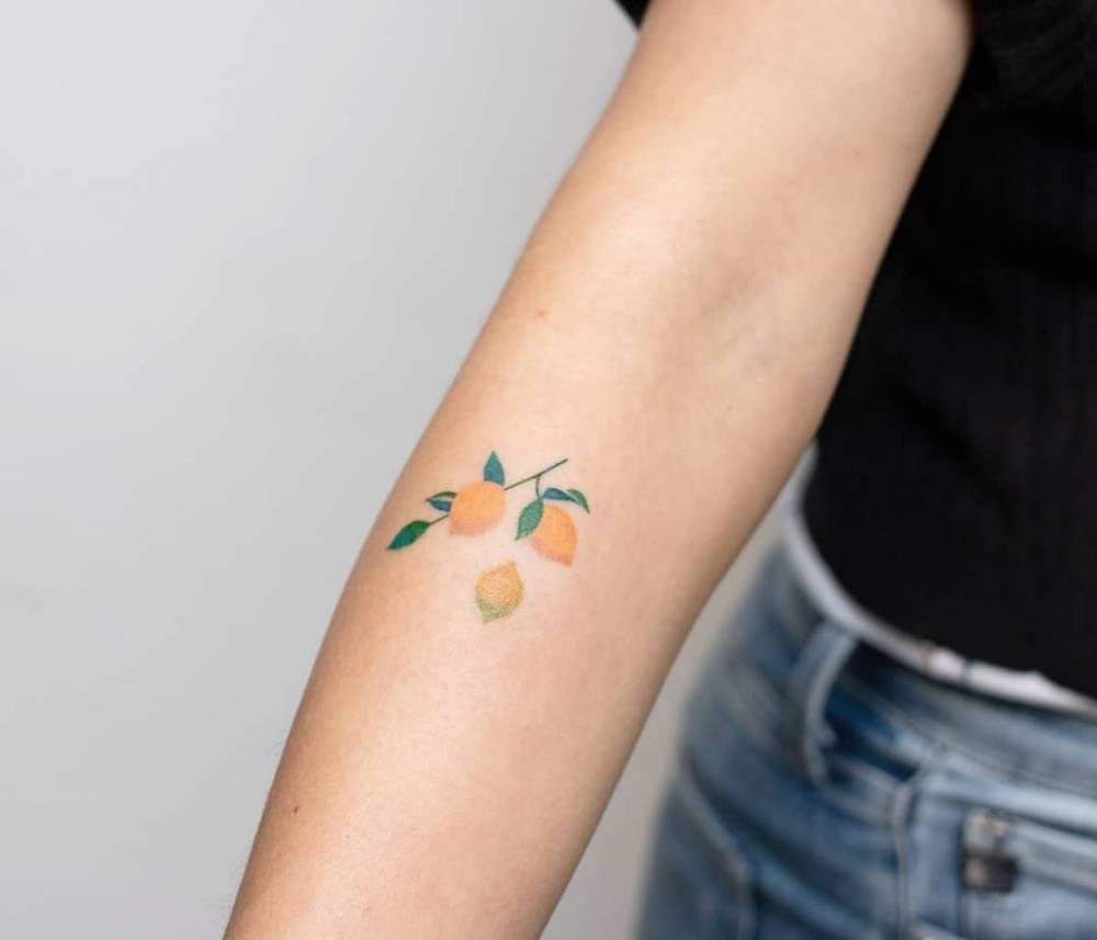 Lemon branch tattoo by nano ponto a ponto