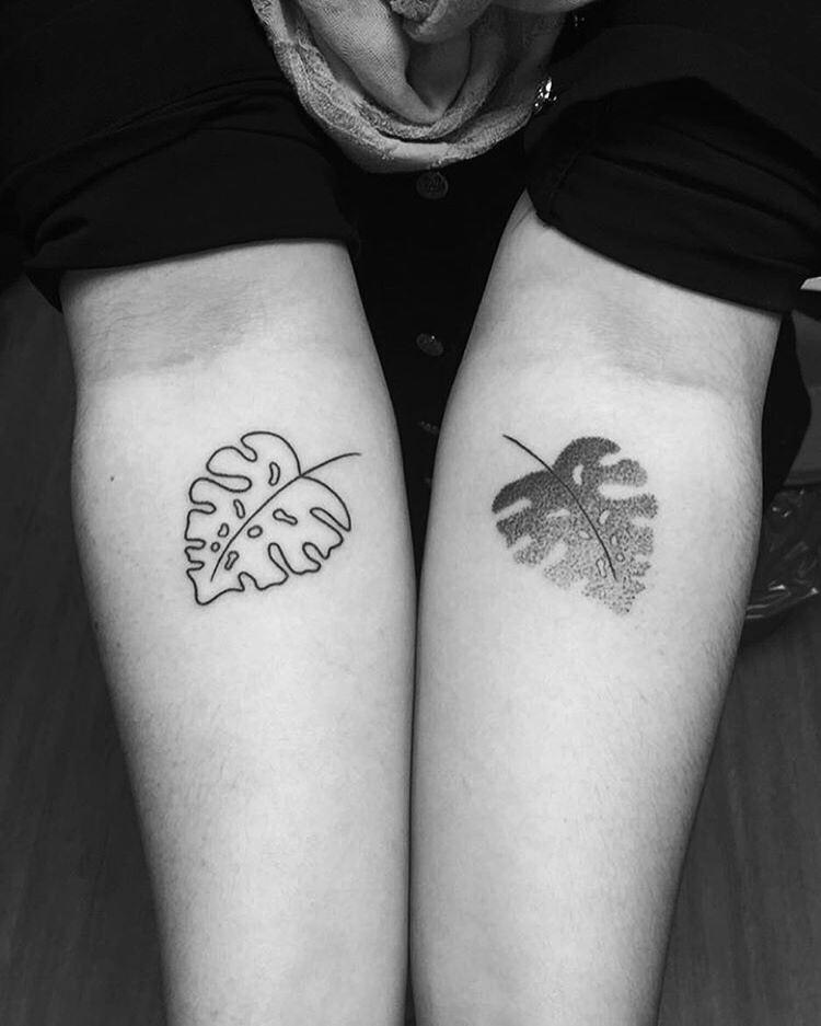 Monstera deliciosa leaves tattoo by serranos
