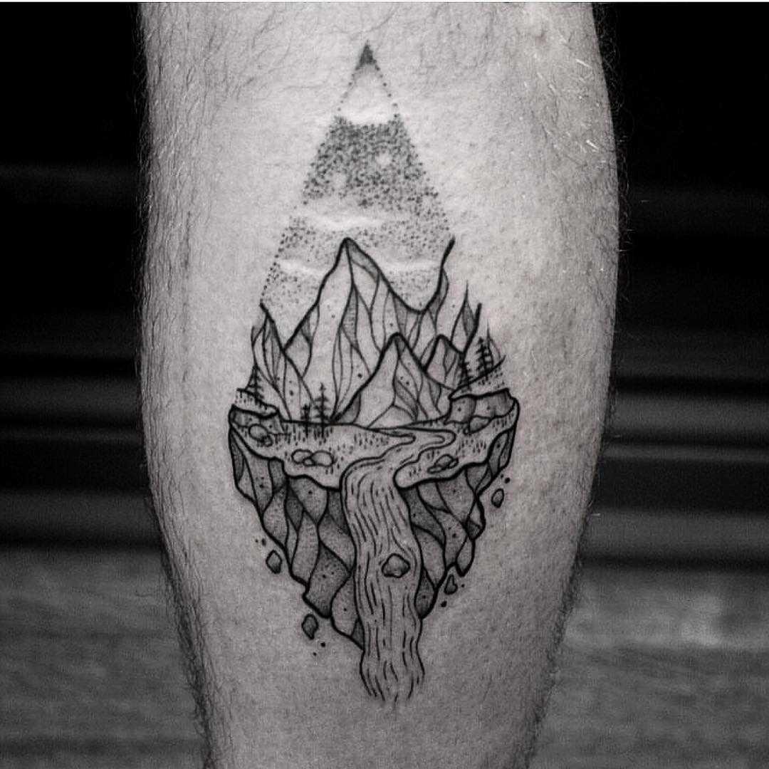 Mountain stream tattoo by jas fuketyfuk