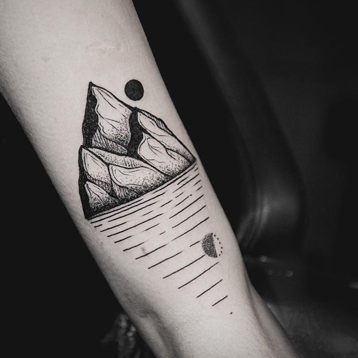 Mountains tattoo by yi postyism