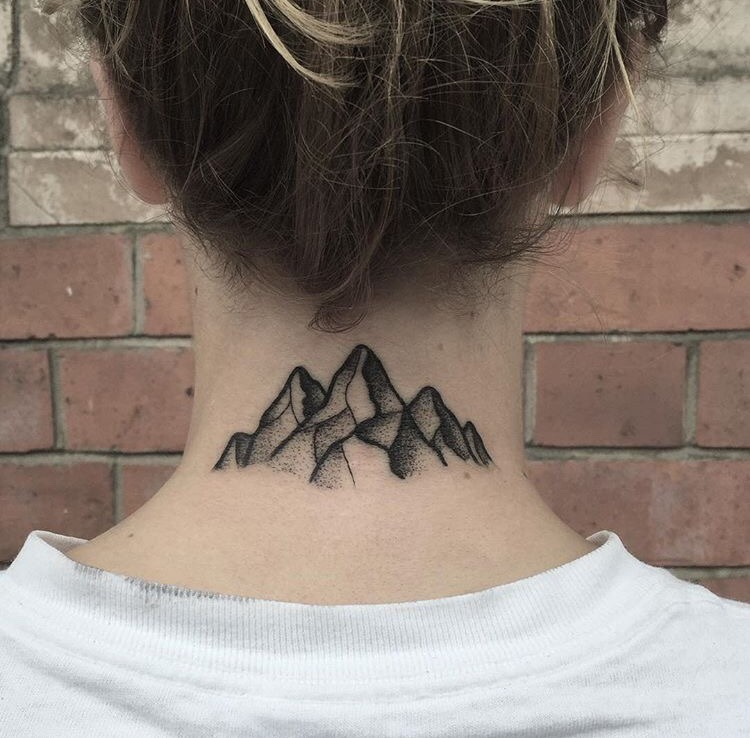 Mountains tattoo on the neck by blakey tattooer