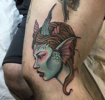 Neo traditional mermaid tattoo by craig gardyan
