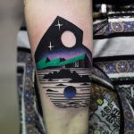 Nostalgic landscape tattoo by david côté