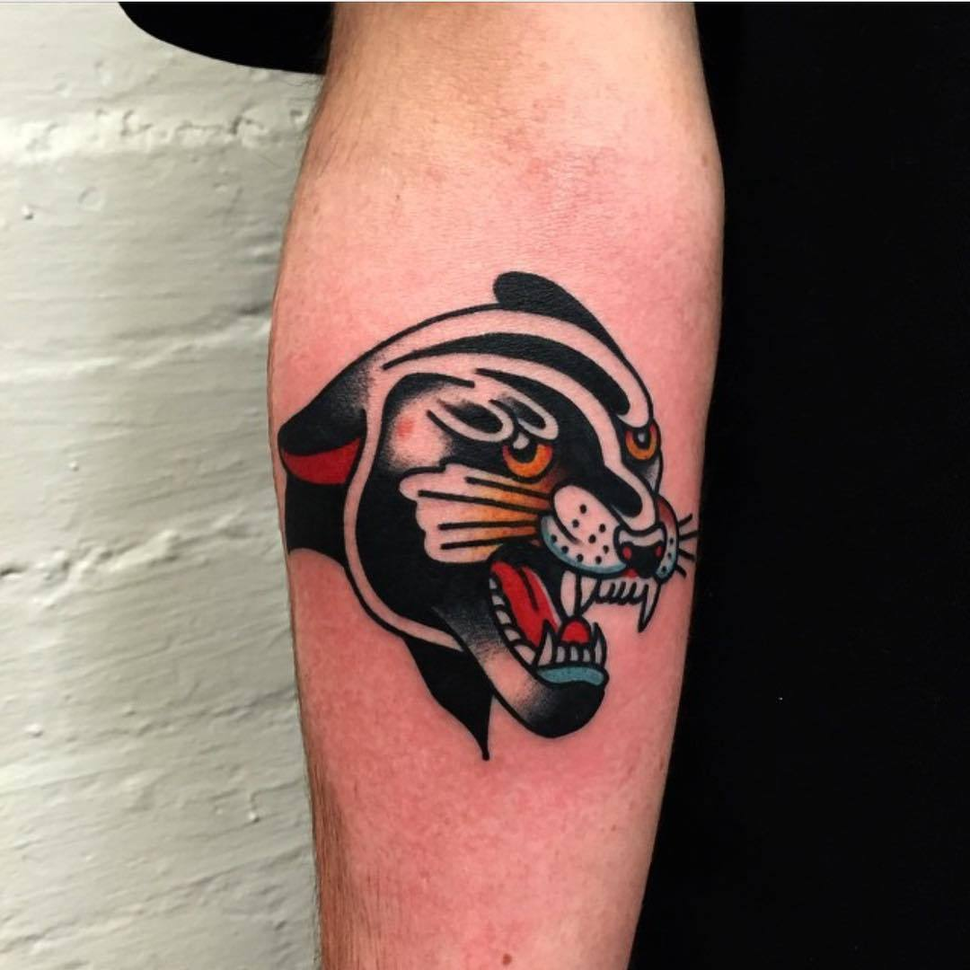Old school panther tattoo by salsciuto tattoo