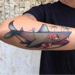 Old school shark tattoo on the forearm