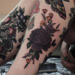 Purple rose and golden poppies tattoo