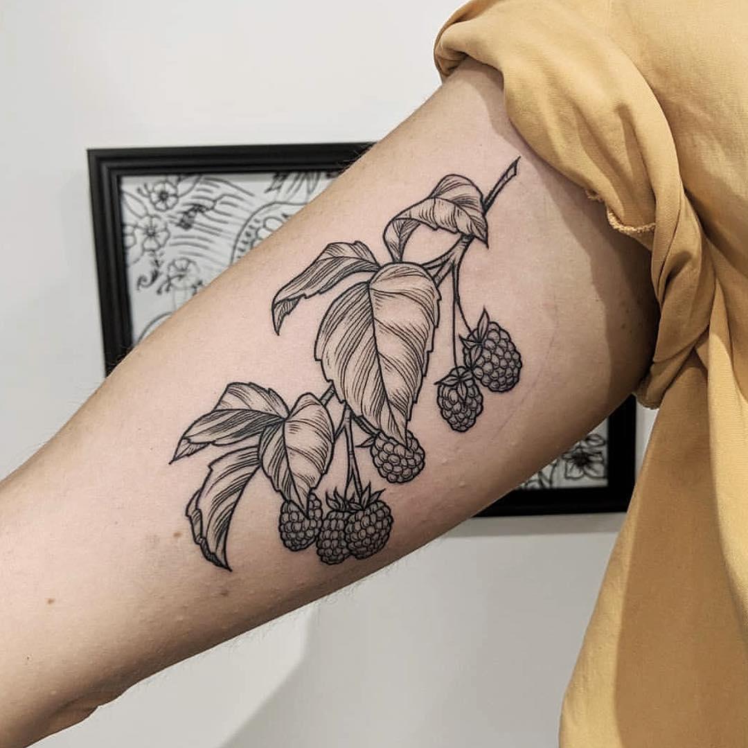 Raspberry branch tattoo