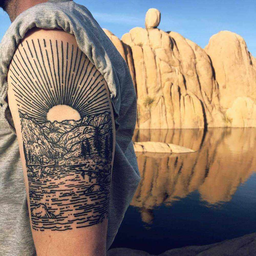 Realistic cliff tattoo by lisa orth