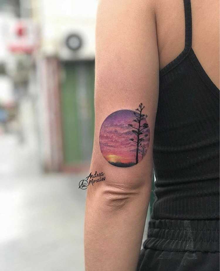 Realistic landscape and sunset tattoo by andrea morales