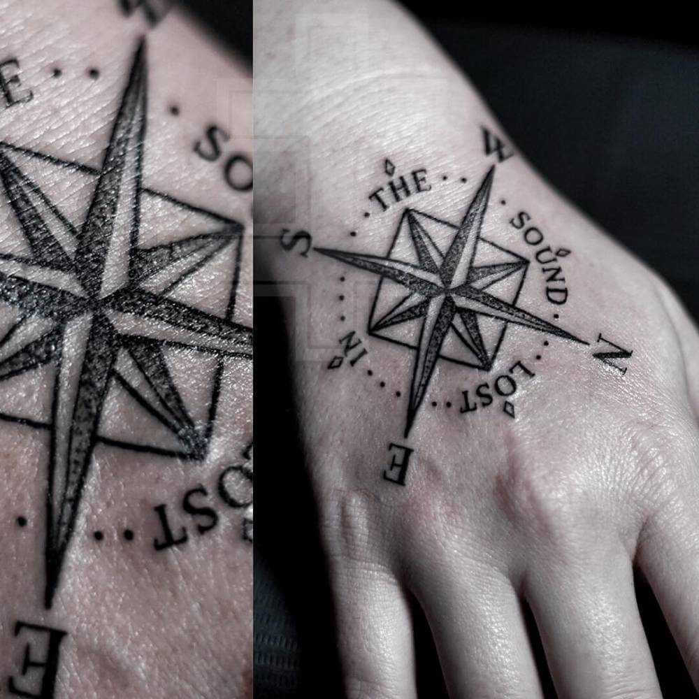 Simple compass tattoo on the right hand