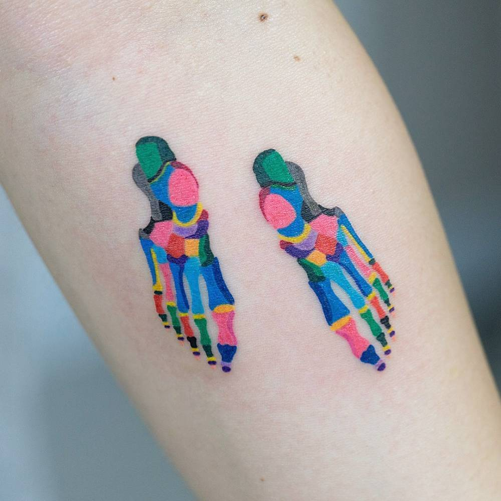Skeleton feet tattoo by zihee done in seoul