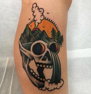 Skull landscape tattoo by jeroen van dijk