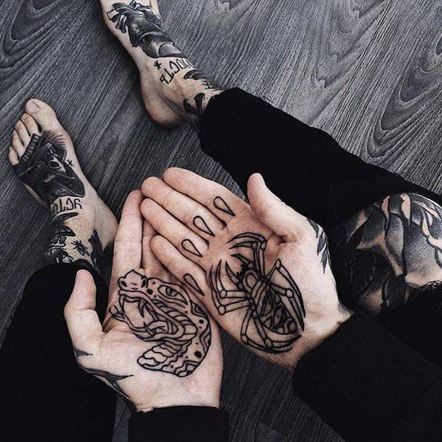 Snake and spider tattoos