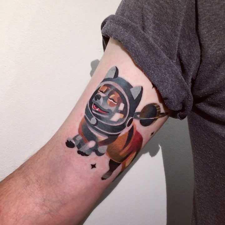 Space corgi tattoo by sasha