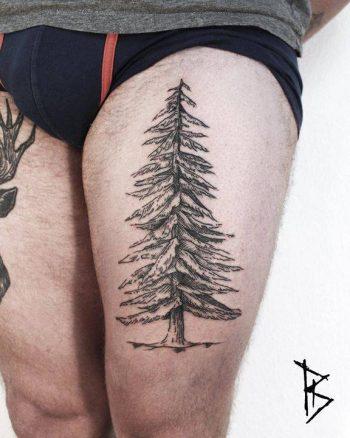 Spruce tree tattoo by loïc lebeuf