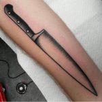 Straight lines chef's knife tattoo by jeroen van dijk