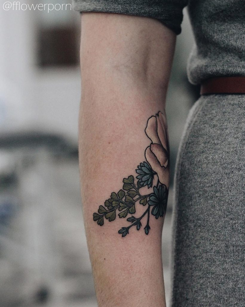 Succory and maidenhair tattoo