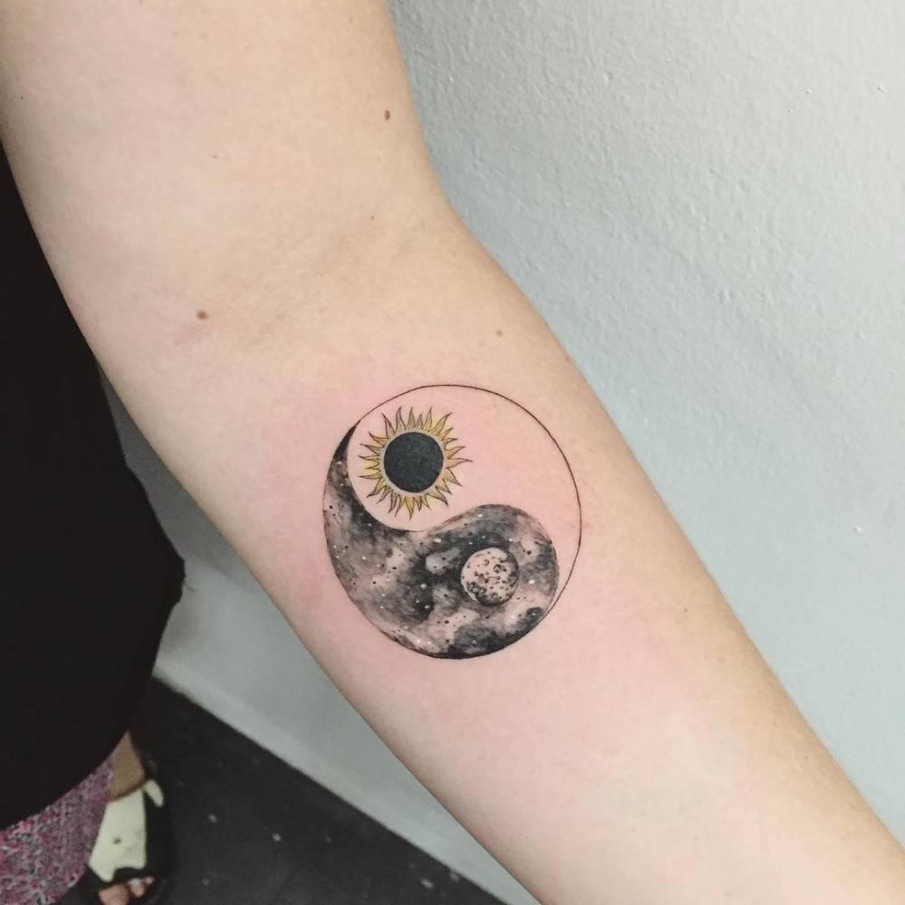 Sun and moon yin yang tattoo