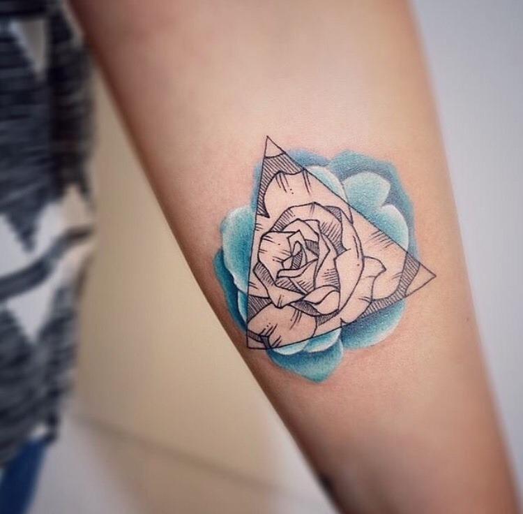 Triangle and blue rose tattoo