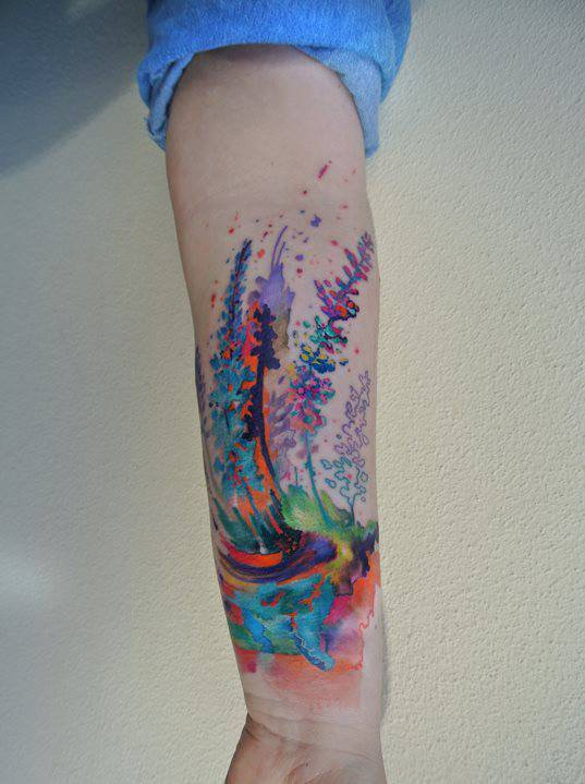 watercolor forest tattoo tattoogrid net watercolor forest tattoo tattoogrid net