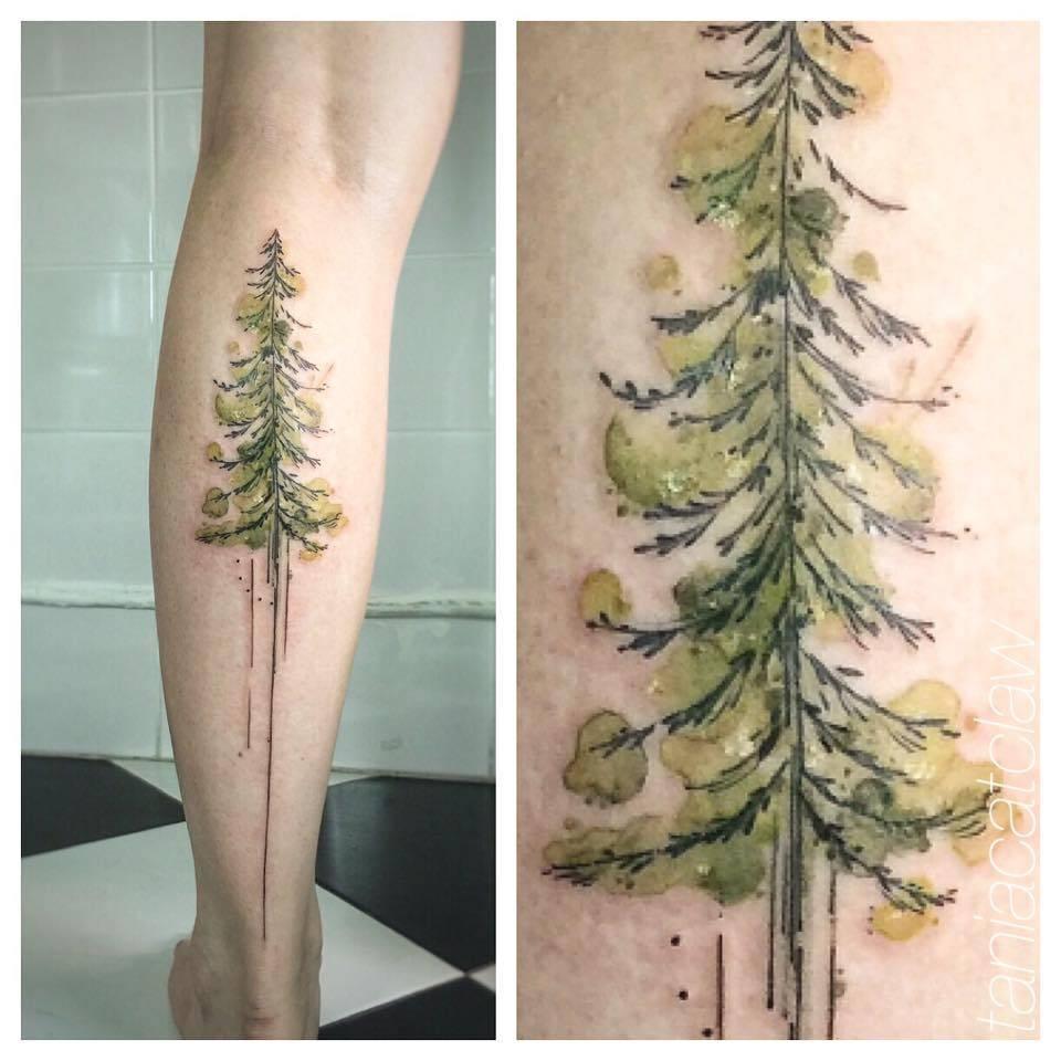 Watercolor green pine tattoo