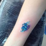 Watercolor valknut tattoo