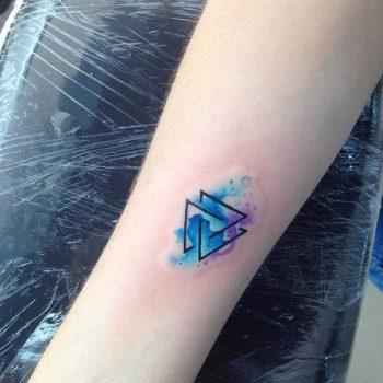 Watercolor valknut tattoo