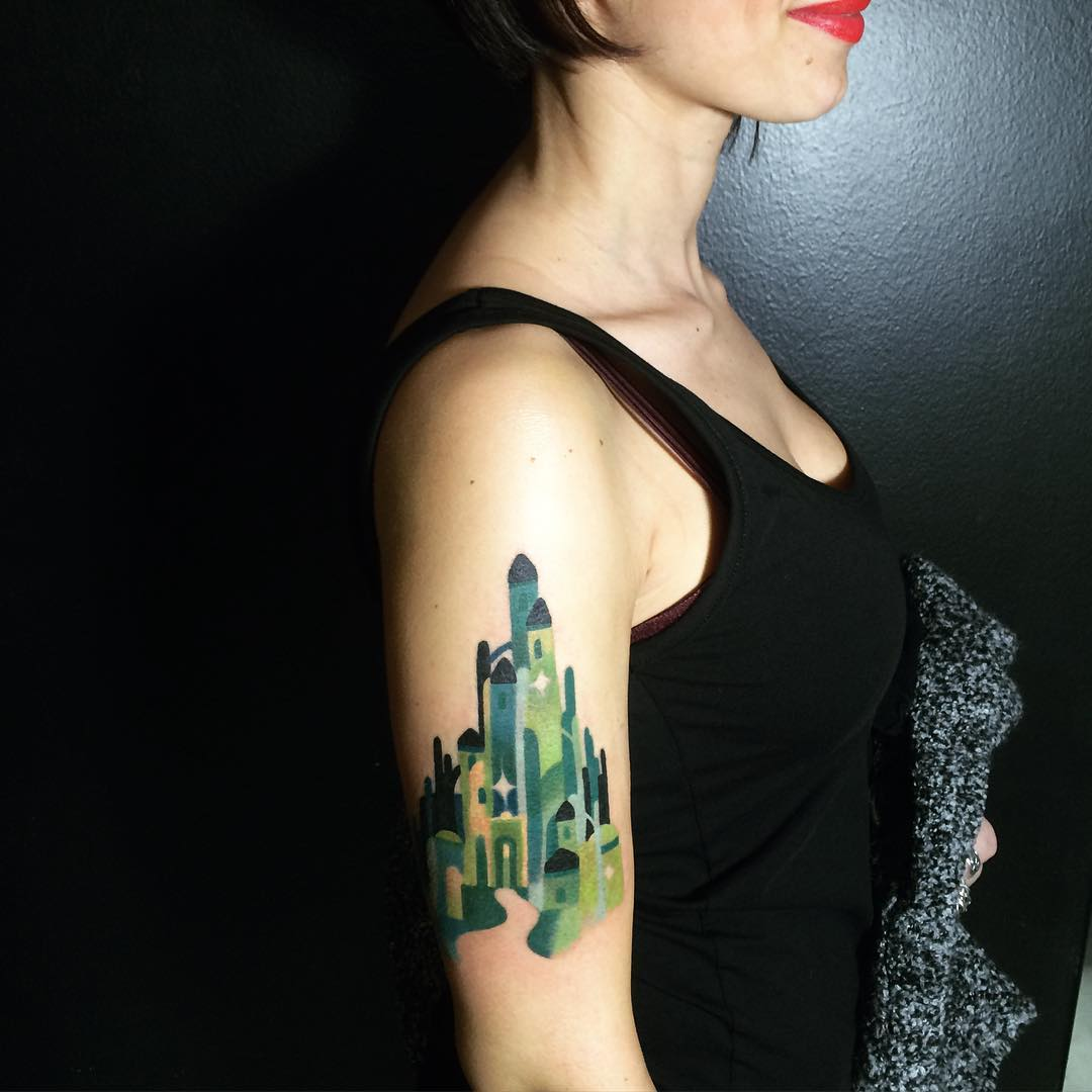 Wizard of oz emerald city tattoo by sasha unisex