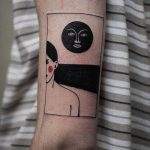 Woman and moon tattoo by all cats are grey