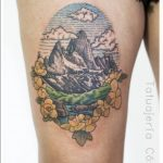 Wonderful mountain landscape tattoo